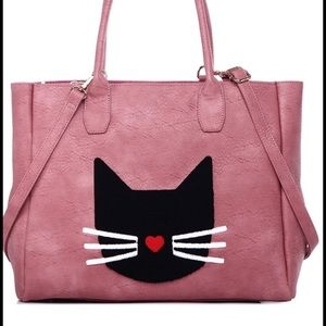 Fabulous Pink Tote with Fuzzy Black Kitty